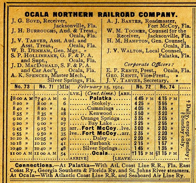 Ocala Northern Offical Guide Timtetable from 1914